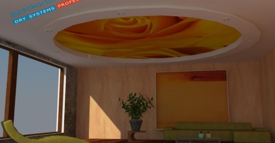 Опънат таван с фотопечат лале в съчетание с борд изработен от гипсокартон.