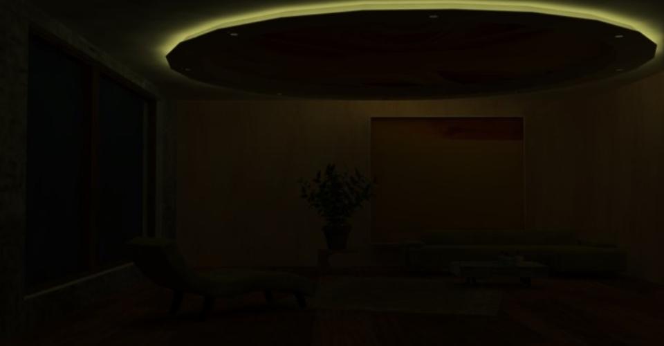 Опънат таван само с влключено декоративно осветление.