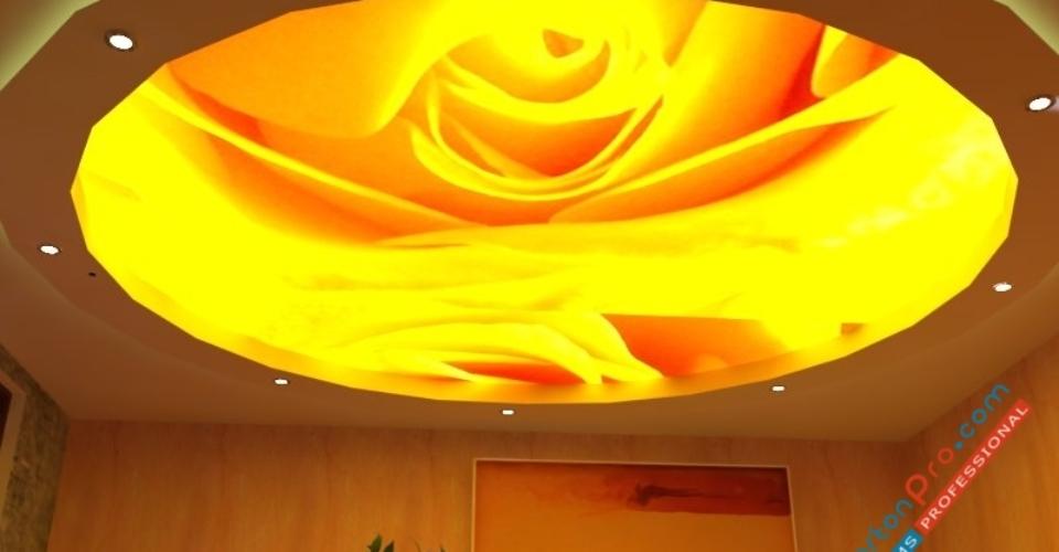 Опънат таван с фотопечат лале в съчетание с окачен таван от гипсокартон !