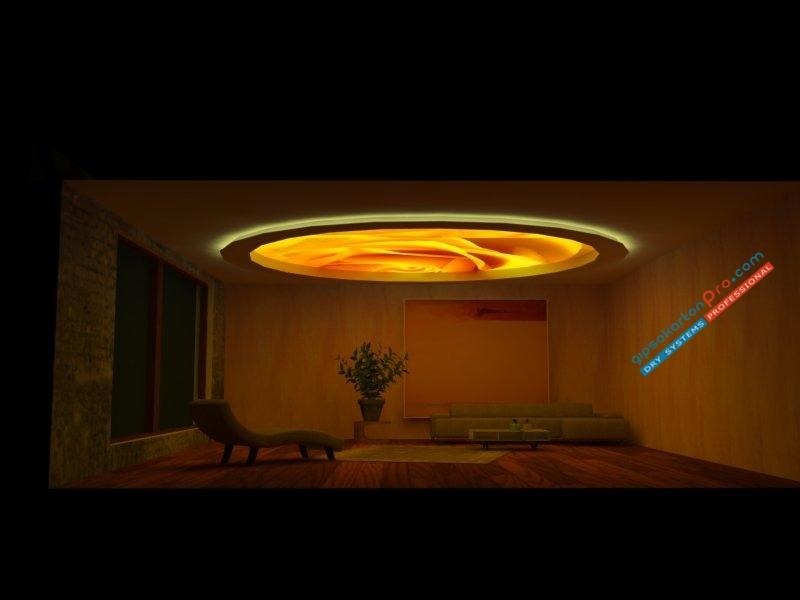 Опънат таван с борд от гипсокартон и включено осветление -лунички плюс осветление от самия таван.