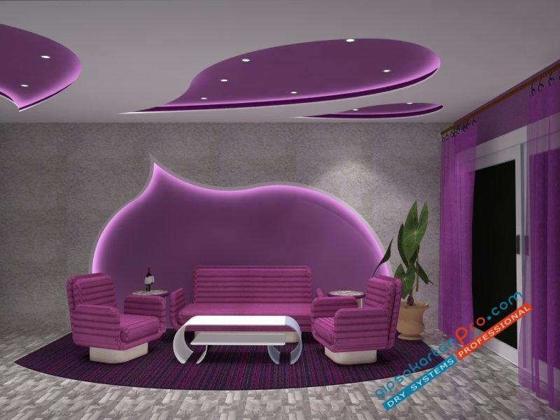 Декоративен окачен таван .Елементи във формата на какпки по -окачения таван и стените.Тавана е подходящ за малък хол.