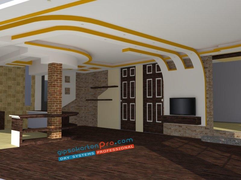 Монтаж на окачени тавани от Гипсокартон Про .3д визуализация на окачен таван от гипсокартон на 3 нива подходящ за просторен хол.