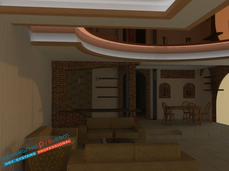 3д визоализации на опънати тавани .Опънат таван гланц подходящ за просторен хол с кухненски бокс .Слаба дневна светлина плюс изкуствено декоративно лед осветление.Опънати тавани Бургас.
