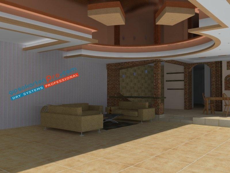 Гланциран полуогледален опънат таван подходящ за просторен хол .Дневна светлина без изкуствено осветление .Вижте нашите цени за опънати тавани .