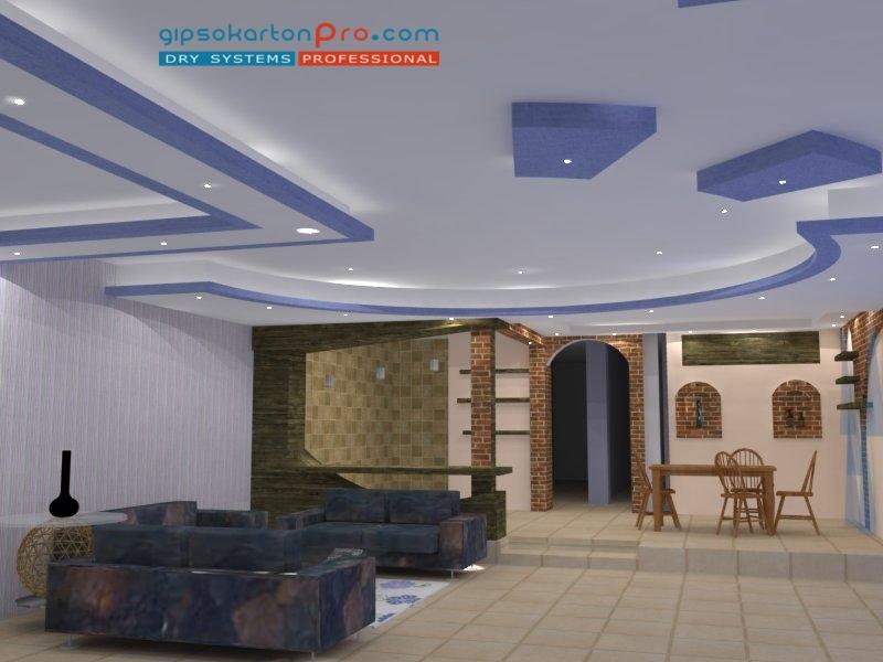 Окачен таван от гипсокартон подходящ за просторен хол с кухненски бокс .На 3д проекта се вижда включено изкуствено осветление.