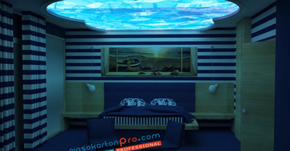 3д визуализация на проект за опънат таван в спалня .Светодиодно осветление.