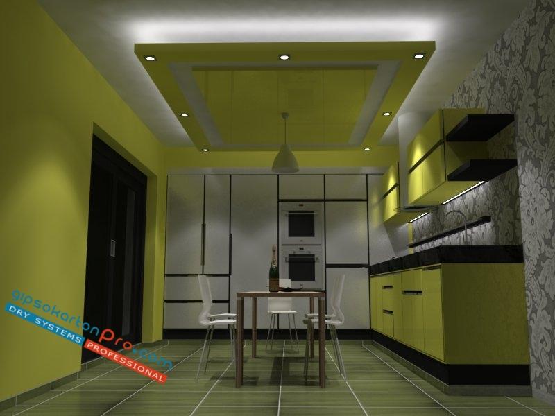 3д интериорен проект на окачен таван за средно голяма кухня .Изглед 1 изкуствено осветление лунички плюс скрито осветление с лед ленти.