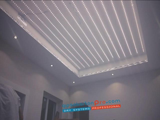 Свтещи опънати тавани с лед осветление .Печат на палма.