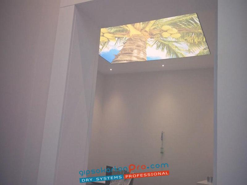 Монтаж на декоративни опънати тавани с вградено лед осветление. Завършен вид на опънатия таван