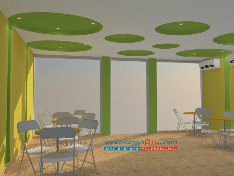 Интериорни решения със сухо строителсвео .Окачен таван с елепси в сладкарница.