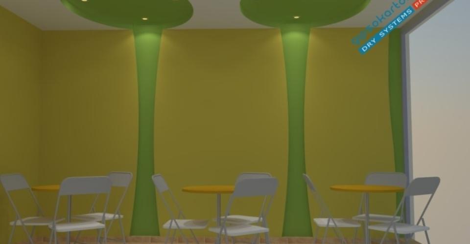 Проект за окачен таван в сладкарница .