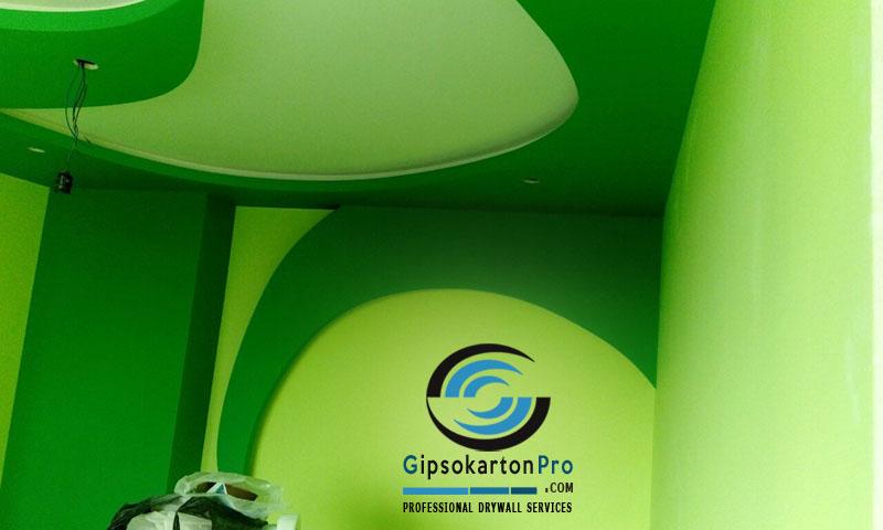 Ремонти в София Бургас и Варна . Декоративни тавани и стени в зелено