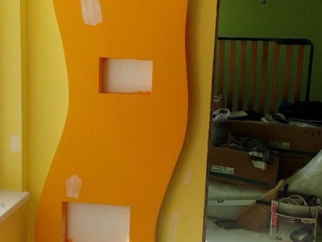 Гипсокартон Бургас . Ниши по стена в овална форма