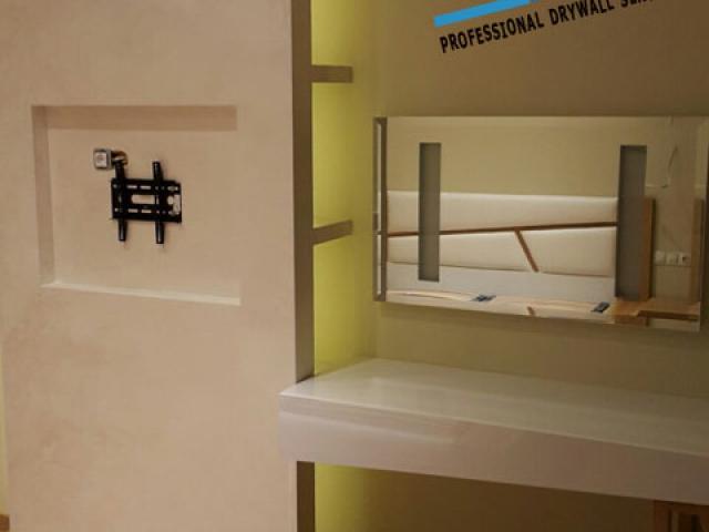Бургас ! Телевизионен кът от гипсокартон с ниши в спалня