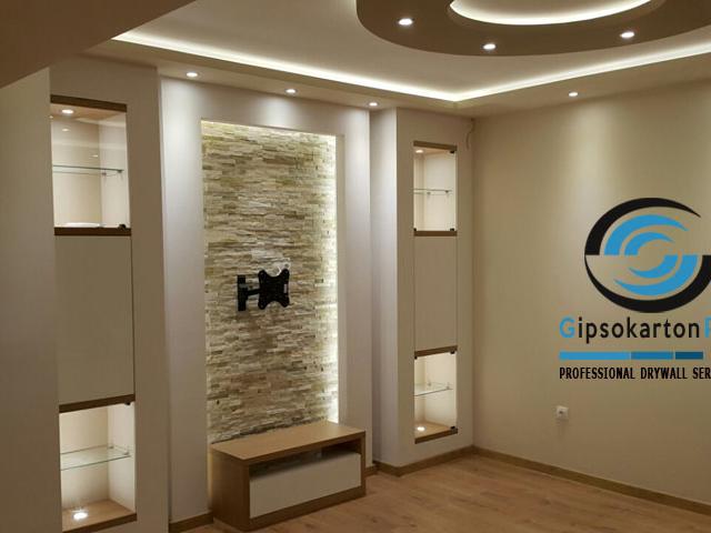Гипсокартон Варна .декоративни окачени тавани и телевизионен кът