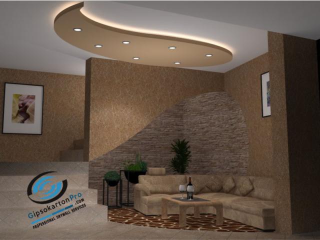 Гипсокартон Варна - окачени тавани с декокоративни елементи.