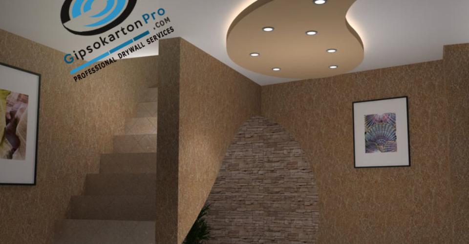 Окачени тавани с лед осветление .Фигура от гипсокартон .Варна квартал Левски