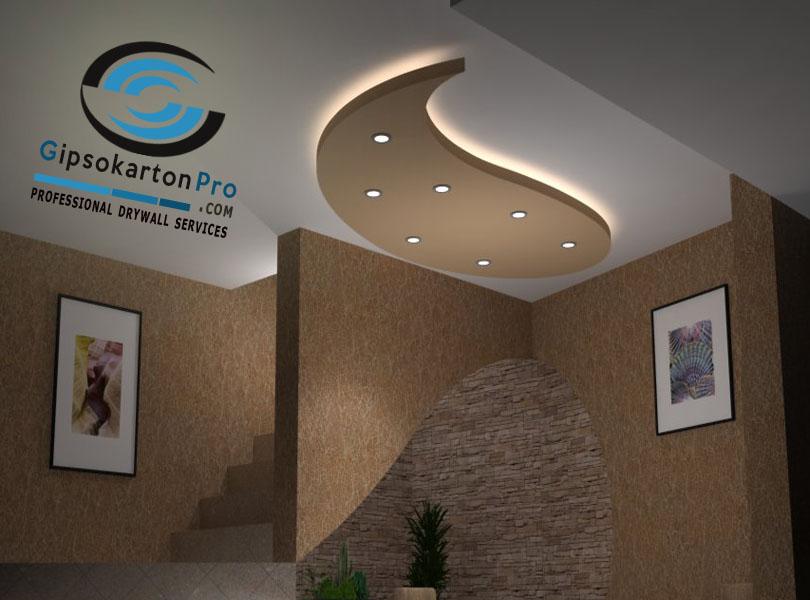 Гипсокартон по стени и таван .Декоративни елементи с лед осветление
