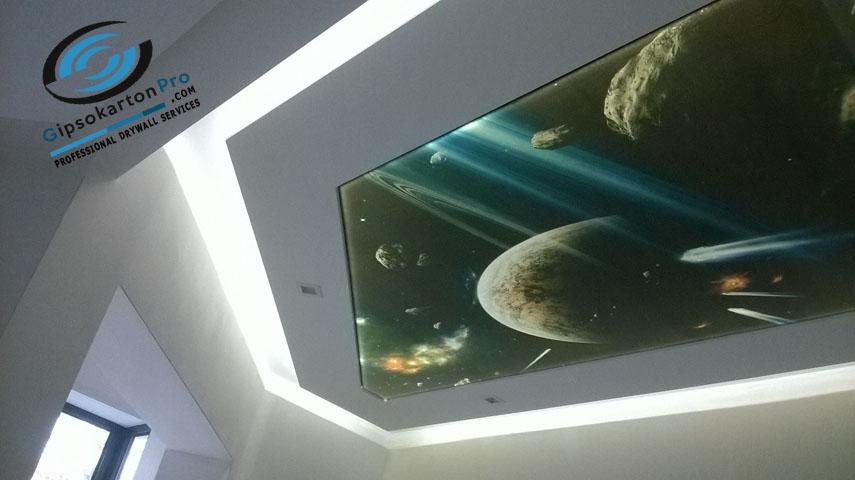 Бургас опънат таван с фотопечат Галактика
