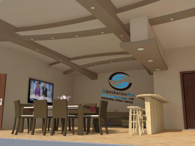 Проект на окачен таван за обект Отманли Бургас изглед 1