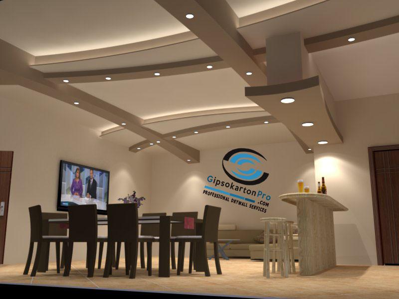 3д проект на окачен таван за просторно помещение . Бургас местност отманли
