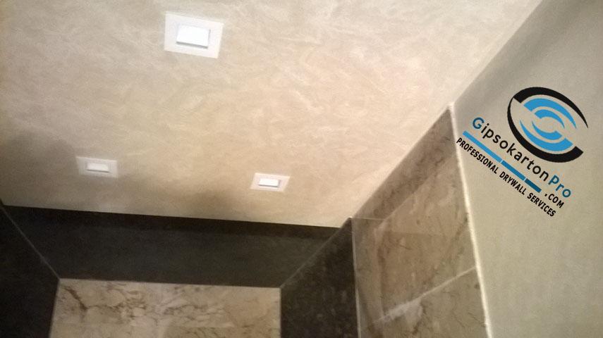 Окачен таван от гипсокартон за баня