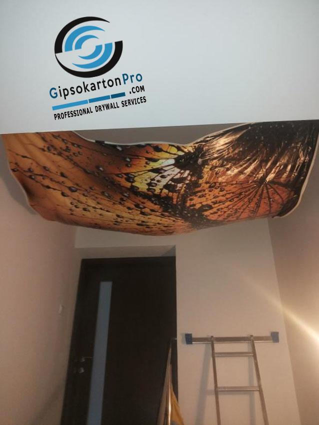 Монтаж на опънат таван с фотопечат в Бургас