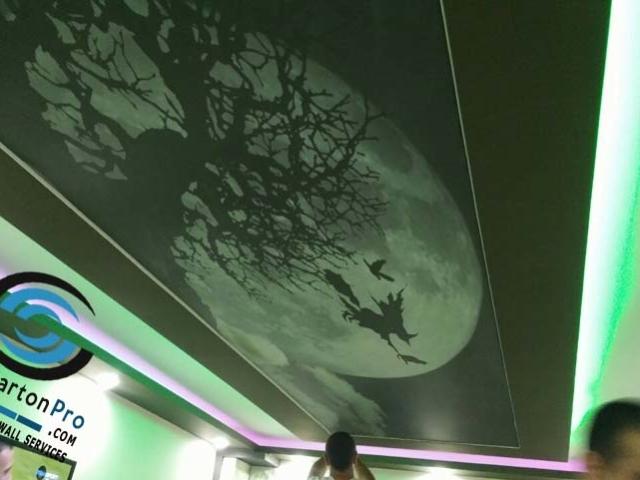 Опънат таван с принт върху транслуцент