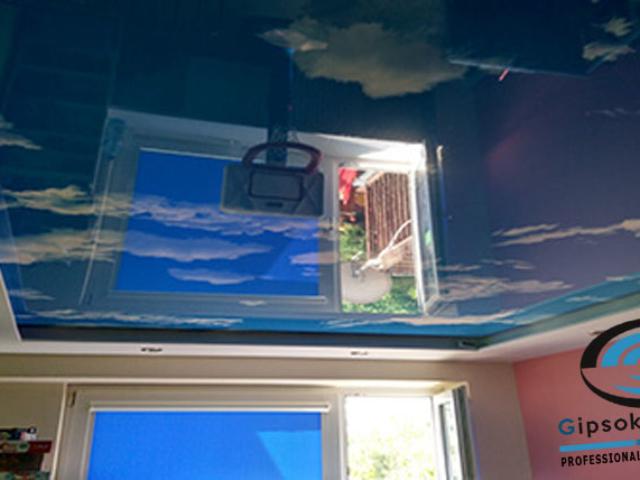 Небе опънат таван с печат