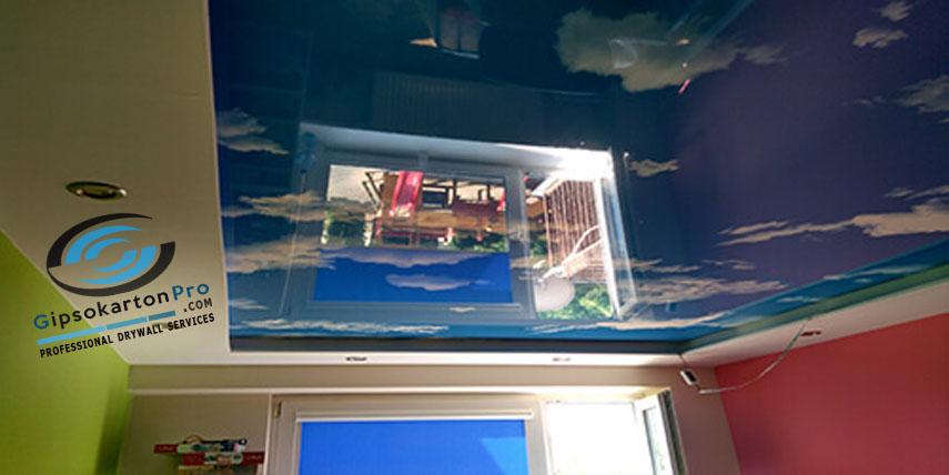 Опънати тавани Варна небе с облаци - гланц