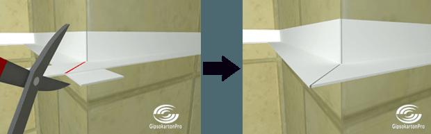 Как се прави окачен таван в баня . Оформяне на външния ъгъл под 45 градуса .
