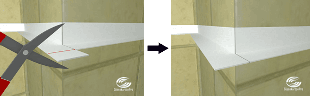 Монтаж на растерни окачени тавани в баня . Оформяне на външен ъгъл под 90 градуса