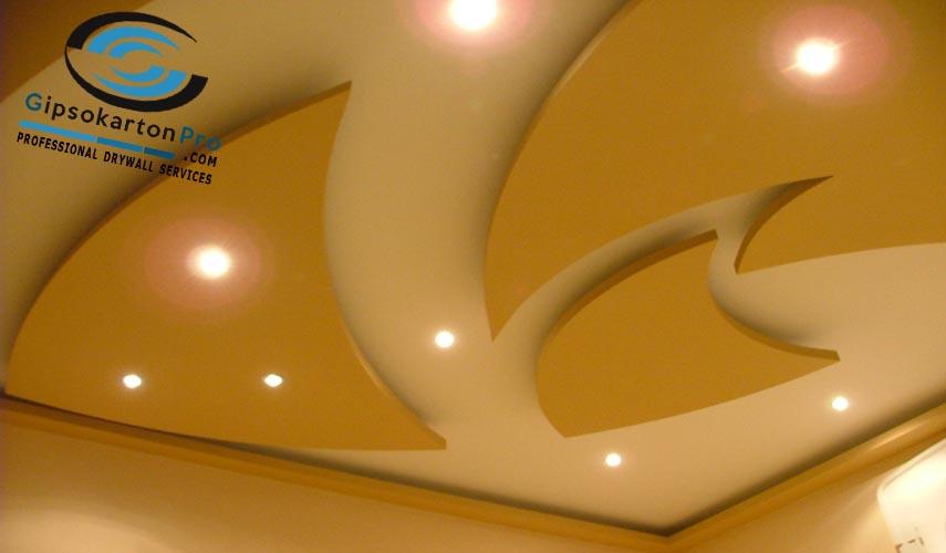 Гипсокартон Бургас . Окачен таван с декоративни елементи и лед осветление