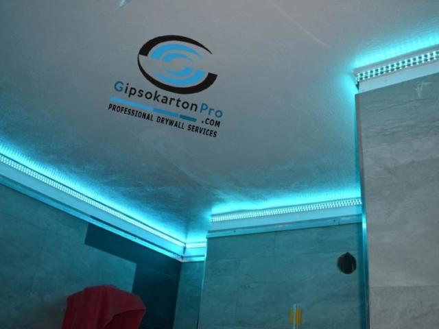 Опънати тавани за баня с Лед осветление