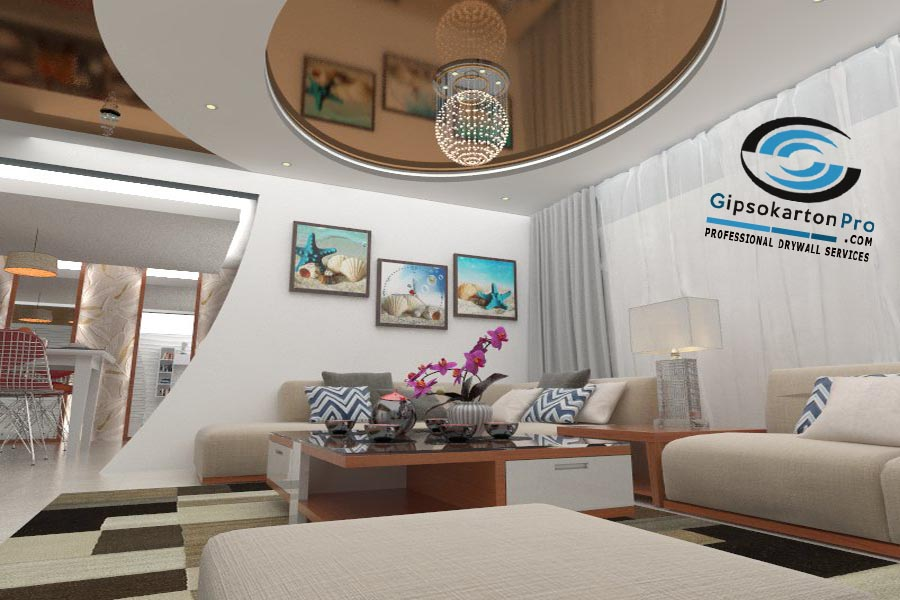 Опънати тавани и гипсокартон . 3Д проект за хол
