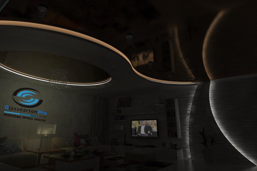 Окачен таван комбинация между гипсокартон и опънати тавани гланц