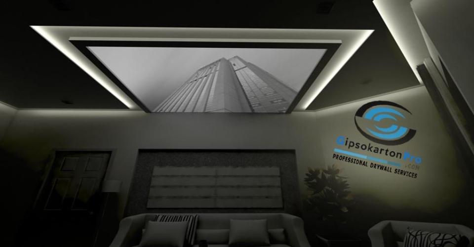 Варна 2017 Опънати тавани с принт за хол