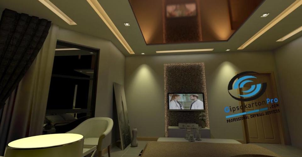 Опънат и окачен таван в спалня