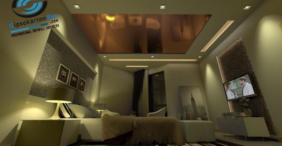 Опънат таван за спалня