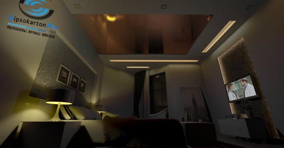 Комбинация между окачен таван и опънат таван в спалня
