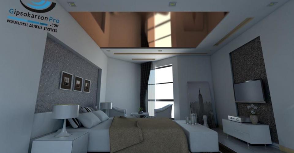 Окачен таван в спалня Дневна светлина