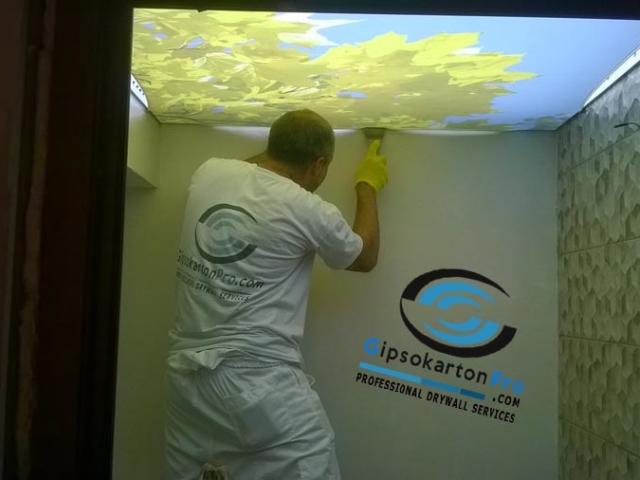 Как се прави опънат таван с осветление над него