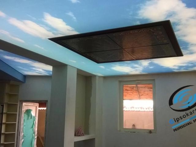 Опънати тавани с принт за кухня