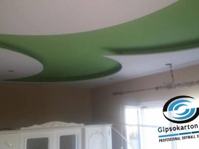 Окачен таван за спалня декоративен елемент със скрито осветление Палма