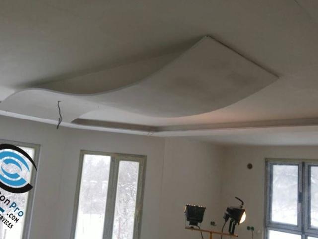 Окачен таван от гипсокартон под формата на вълна