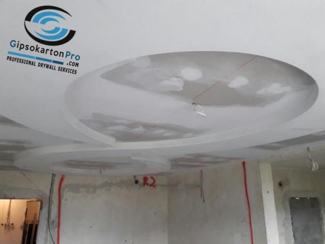 Окачени тавани от гипсокартон на две нива с овална геометрия