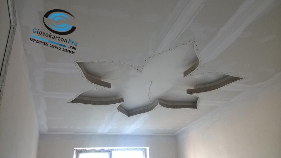 Окачени тавани от гипсокартон с форми за детска стая