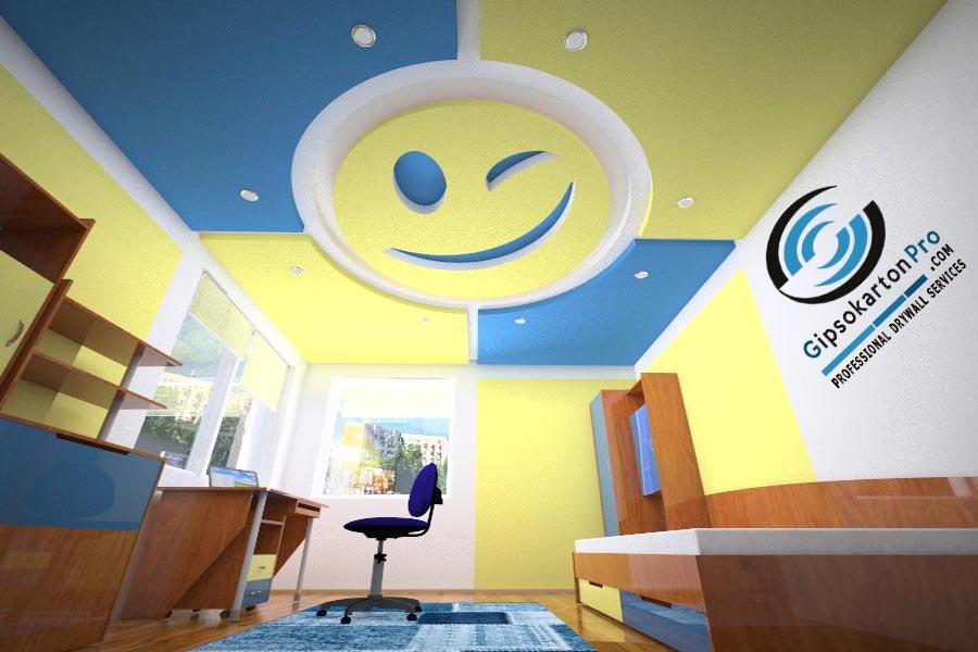 Идеи за окачен таван в детска стая . Еmoticon от гипсокартон 3Д проект Бургас 2018г