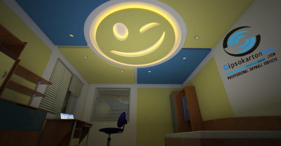 Проект за окачен таван в детска стая . Изпълнение с гипсокартон