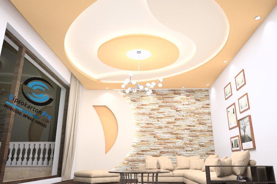 Окачен таван подходящ за малък хол с ЛЕД индиректно осветление.